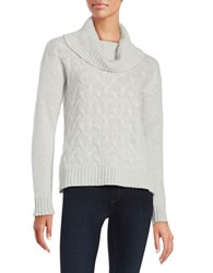 Lord And Taylor Cable Knit Cashmere Sweater Light Grey Heather