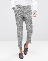 Asos Slim Suit Trousers In Black And White Baroque Jacquard In Cropped Length Multi