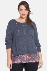 Eloquii Split Side Sweater With Woven Underlay Plus Size Gray