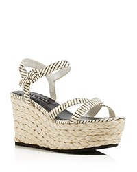 Alice Olivia Rachel Snake Embossed Wedge Sandals Black White