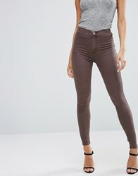 Asos Rivington High Waist Denim Jeggings In Coffee Wash Coffee Wash Brown