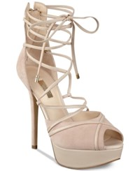 Guess Women's Raja Lace Up Ankle Tie Platform Pumps Women's Shoes Light Natural Suede