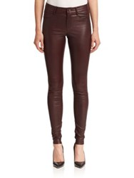 Set Skinny Leather Pants Dark Red