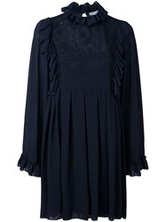 See By Chloe Floral Embroidered Ruffle Dress Blue