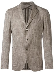 Tagliatore Three Button Blazer Brown