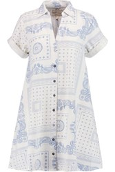 Current Elliott The Rolled Sleeve Printed Cotton Mini Dress Sky Blue