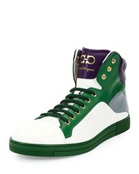 Salvatore Ferragamo Stephen 2 Calfskin High Top Sneaker Purple