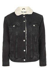 Topshop Moto Denim Western Oversized Jacket Washed Black