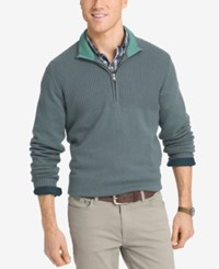 Izod Men's Dual Texture Quarter Zip Sweater North Atlantic