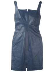 Romeo Gigli Vintage Mini Leather Dress Blue