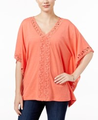Jm Collection Crochet Trim Poncho Top Only At Macy's Porcelain Rose