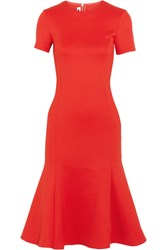 Mcq By Alexander Mcqueen Fluted Stretch Crepe Midi Dress Red