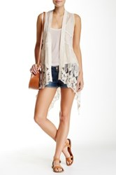 Jolt Crochet And Lace Waterfall Vest White