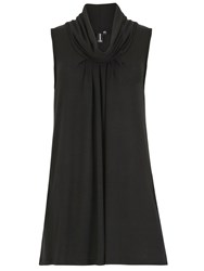 Izabel London Knit Tunic Top With Cowl Neckline Black