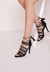 Missguided Ultra Strappy Lace Up Gladiator Sandals Black Black