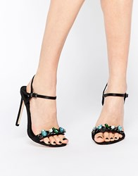Asos Hydrogen Wide Fit Heeled Sandals Black