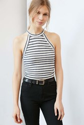 Truly Madly Deeply High Neck Ringer Tank Top Navy