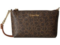 Calvin Klein Key Items Monogram Crossbody Brown Khaki Luggage Cross Body Handbags Silver