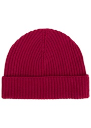 Johnstons Of Elgin Dark Pink Ribbed Cashmere Hat