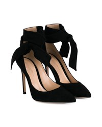 Gianvito Rossi Suede Heeled Sandals With Ankle Tie Black