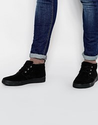 River Island Suede Chukka Boots With Chunky Sole In Black