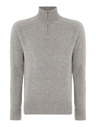 Howick Men's Oakfield 100 Lambswool Funnel Neck Grey Marl