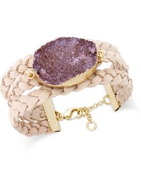 Inc International Concepts Druzy Crystal Faux Leather Cuff Bracelet Only At Macy's Neutral