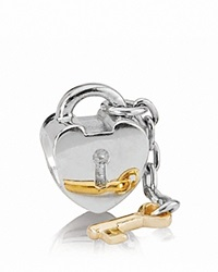 Pandora Design Pandora Charm Sterling Silver And 14K Gold Key To My Heart Moments Collection Silver Gold