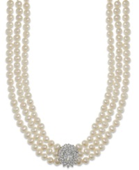 Arabella Cultured Freshwater Pearl 5Mm And Swarovski Zirconia Necklace In Sterling Silver Black