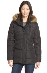 Women's Larry Levine Faux Fur Trim Hooded Down And Feather Fill Jacket Black