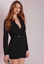 Missguided Tuxedo Style Long Sleeve Playsuit Black Black