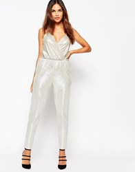 Oh My Love Metallic Jumpsuit Silver