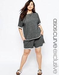 Asos Curve Lounge Shorts And T Shirt In Lightweight Sweat Grey