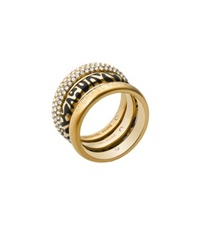 Michael Kors Animal Print And Pave Gold Tone Ring Stack