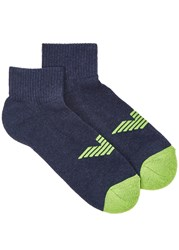 Emporio Armani Blue Logo Cotton Blend Socks Navy