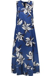 Marni Floral Print Cotton Poplin Maxi Dress Royal Blue