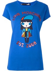 Love Moschino Sequin Embellished T Shirt Blue