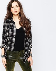 Blank Nyc Plaid Flannel Shirt With Tail Bipolar Texter Grey