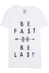 Zoe Karssen Be Fast Printed Cotton And Modal Blend T Shirt White