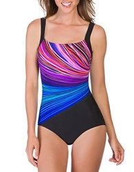 Reebok Fire And Water Scoopback One Piece Swimsuit Blue