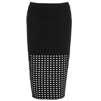 T By Alexander Wang Women's Circular Hole Jacquard Jersey Skirt Black