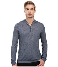John Varvatos Long Sleeve Pullover Button Hoodie Sweater With Contrast Linking Y1311s2b Dark Indigo Men's Sweater Blue
