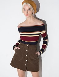Pixie Market Burgundy And Navy Striped Off The Shoulder Sweater