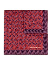 Turnbull And Asser Geometric Paisley Pocket Square Red