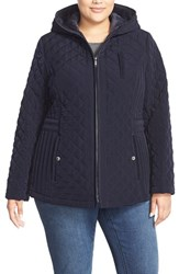 Plus Size Women's Laundry By Design Corduroy Trim Hooded Quilted Coat Pretoria Navy