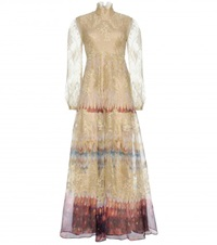 Valentino Printed Silk And Lace Gown Gold