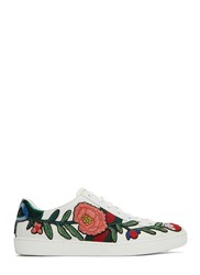 Gucci Floral Embroidered Low Top Sneakers White