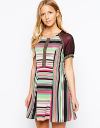 Mina Stripe Dress Black