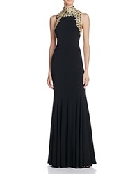 Aqua Embroidered Mock Neck Gown Black Gold