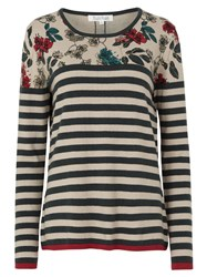 Tulchan Blossom Print And Stripe Jumper Forest